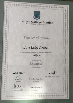 Ann Clewlow Teachers Diploma